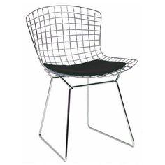 Chaise Diamond Harry Bertoia avec coussin noir discount-design