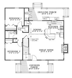 First Floor Plan of Cabin   Country   Southern   House Plan 62115