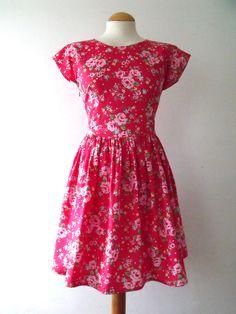 889440b5ecc Cap sleeve tea dress in retro style floral print cotton red flowery dress  by Luminia on