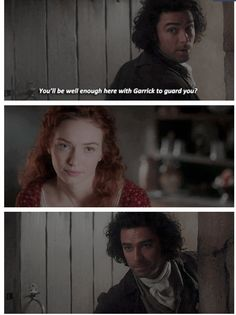 """""""You'll be well enough here with Garrick to guard you?"""" - Ross and Demelza #Poldark"""