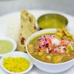 Coconut & tamarind curry of wild fish, coconut chutney & accompaniments