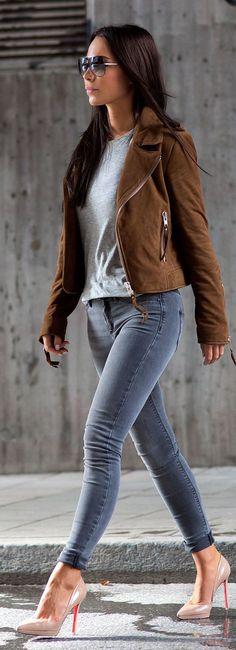 Camel Suede Jacket Light Grey Sweater Grey Jeans by Johanna Olsson