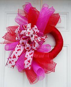 Metallic Pink and Red spiral Valentines Mesh Wreath by dottiedot05, $28.00