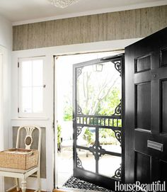 Modern Farmhouse Design Ideas - Modern Farmhouse Decorating - House Beautiful that is a great screen door that wouldn't ruin the front of the house. Wish I had one now