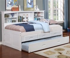 Kids Furniture White Twin Size Bookcase Captain's Day Bed by Discovery World Furniture 0222