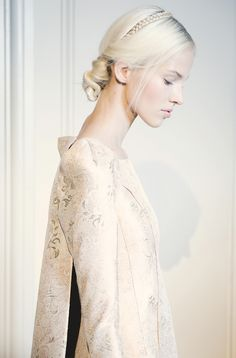 Sasha Luss backstage at Valentino Fall/Winter 2013 Couture at Paris Fashion Week. Photo by Giacomo Cabrini.