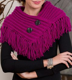 Free Knitting Pattern for One Row Repeat Fringed Cowl - This easy shawlette / neckwarmer is knit flat with a one row repeat stitch pattern and then seamed. Quick knit in bulky yarn.