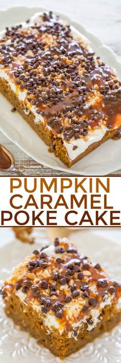 Pumpkin Caramel Poke Cake - Easy and the BEST PUMPKIN CAKE ever! Omit chocolate chips though, and extra caramel, unless you're also shooting insulin. Poke Cake Recipes, Poke Cakes, Cupcake Cakes, Cupcakes, Dessert Recipes, Layer Cakes, Cake Cookies, Mini Desserts, Just Desserts