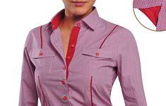 Cubana Women Shirt Red Gingham Red Lining  $86.90 Women's Fashion