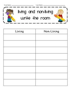 This document includes 16 pictures with labels (8 living, 8 non-living) and a recording sheet. Post these pictures around the classroom. Students will record each picture found under the appropriate column - Living or Non-living.