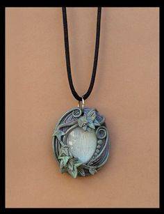 Fairy Tale Ivy Pendant-Polymer Clay Jewelry Fairie Fantasy Necklace Leaves Vines Nature Forest Woods Ren Fair Baroque Lavender Green Oval by dreamtrappings on Etsy https://www.etsy.com/listing/231510013/fairy-tale-ivy-pendant-polymer-clay