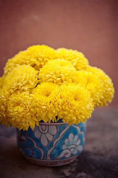 @ Megan DiPaolo, yellow mums in pretty mugs, teapots or bowls, possibly from chinatown!