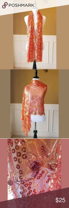 Orange Gold Shear Sequin Floral Scarf Wrap Beautiful and stunning, eye catching material. Never worn, Great condition! See picture #3 for string cluster sewn into shawl. Unbranded Accessories Scarves & Wraps
