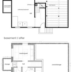 Basement Before + After Plans
