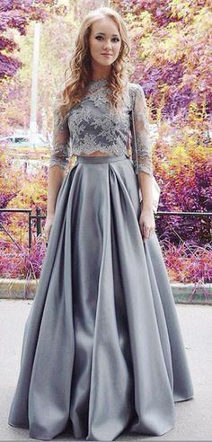 Gray High Neck Half Sleeves 2-Piece with A-Line #prom #promdress #dress #eveningdress #evening #fashion #love #shopping #art #dress #women #mermaid #SEXY #SexyGirl #PromDresses