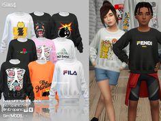 The Sims 4 Kid uni Crewneck Sims 4 Toddler Clothes, Sims 4 Cc Kids Clothing, Sims 4 Mods Clothes, The Sims 4 Kids, Sims 4 Children, 3 Kids, Young Children, Sims 4 Cas, Sims Cc