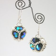 Free RAW Beaded Brad Earring Tutorial by Damselfly Gemma featured in recent Bead-Patterns.com Newsletter