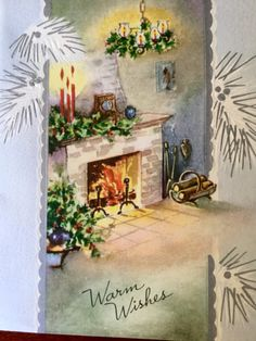 Vintage Christmas Card Mid Century Modern Home Embossed in Original Postmarked 1951 Envelope Collectible Ephemera Nostalgia Nifty by HiltonHeadThriftShop on Etsy