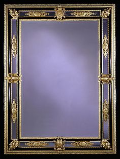 Napoleon III Bronze and Ebony Bevelled Mirror - French c.1850