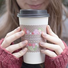 Free Printable Valentine Coffee Cup Wraps by Lia Griffith ─ So cute for ANY day of the year!!!