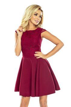 Numoco Dress MARTA with lace - Burgundy color Long Sleeve Mini Dress, Burgundy Color, Women's Fashion Dresses, Flare Dress, Bordeaux, Evening Dresses, Ideias Fashion, Clothes For Women