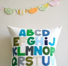 Classic Abc Alphabet Pillow by Pillow Factory. $110.00, via Etsy.