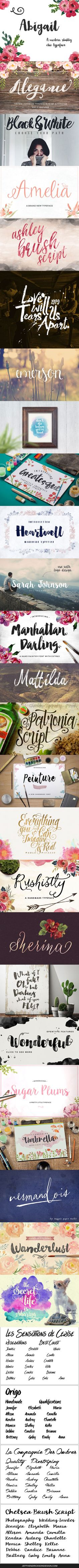 31 brush script fonts for identity, branding, logos, etc. Some are free.