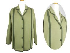 Vintage 1960s Wool Cardigan Jacket Collared Button Front Green UK 12 by BlackcatsvintageUK on Etsy