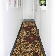 Ottomanson Ottohome Collection Contemporary Leaves Design Modern Hallway Runner Rug, W X L, Chocolate Hallway Carpet, Stair Rugs, Rug Runners, Stair Runners, Modern Hallway, Modern Color Palette, Modern Area Rugs, Modern Carpet, Grey Carpet