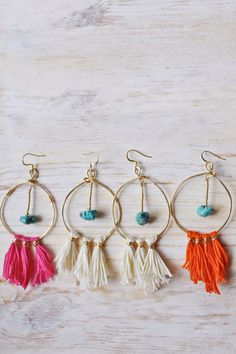 Summer Fringe and Turquoise Magnesite Hoop Earrings on Etsy