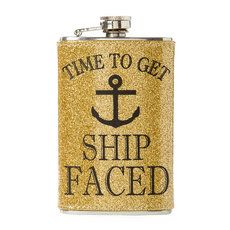 Time to Get Ship Faced Gold Glitter Flask