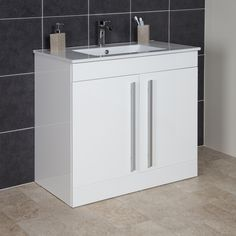 Icona Classic White Floor Standing Vanity Unit U0026 Basin   900mm Width At  Lowest Online Prices
