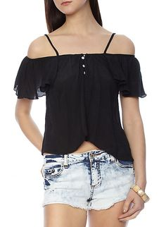 Open Shoulder Flutter Sleeve Top with Button-Down Front