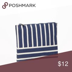 Last chance! makeup bag bag canvas cream and white striped makeup bag Bags Cosmetic Bags & Cases