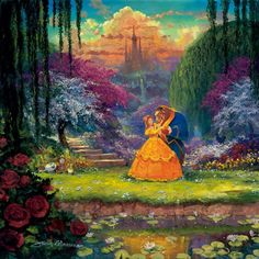 Ceaco Disney Beauty & The Beast Fine Art Garden Waltz Puzzle Piece) 550 Piece Puzzle High resolution image x when assembled Disney Fine Art, Disney Love, Disney Magic, Walt Disney, Disney Stuff, Disney Nerd, Disney Couples, Disney Pixar, Godard Art