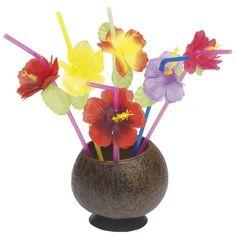 Rietjes met gekleurde bloemen 12 stuks. Hawaii of tropisch feestje? Bij Fun en Feest vind je de leukste Hawaii feestartikelen, versiering en decoratie.