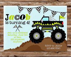 Custom Printable Monster Truck Birthday Party Invitation. $10.00, via Etsy.