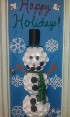 Door Snowman Made From Styrofoam Cups Classroom Door