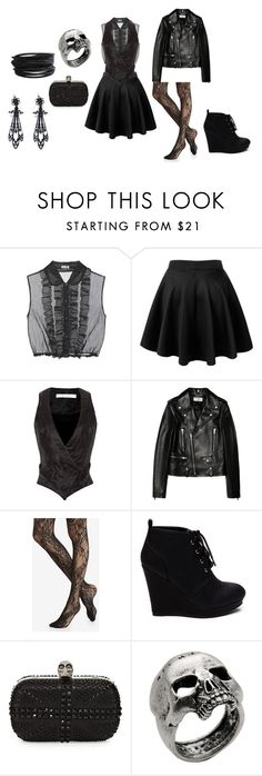 """""""Willow Whisp"""" by theeverydaygoth ❤ liked on Polyvore featuring Miu Miu, Rodarte, Yves Saint Laurent, Express, Alexander McQueen, John Richmond and Pieces"""