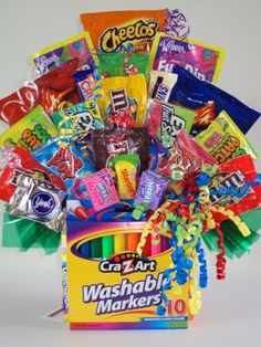 Candy bouquet with markers
