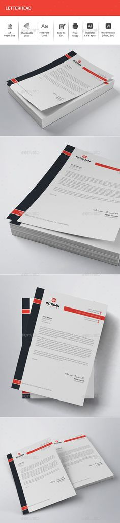 #Letterhead - #Stationery Print Templates Download here: https://graphicriver.net/item/letterhead/20325267?ref=alena994