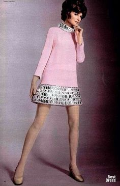 Pierre Cardin : Pierre Cardin mod mini dress with silver bling 1969 fashion 60s And 70s Fashion, Mod Fashion, Vintage Fashion, Womens Fashion, Fashion Trends, French Fashion, Fashion Shoot, Fashion Pants, Fashion Ideas