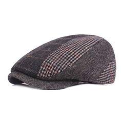 6d2a1cfe4dc  15.99 RICHTOER Men s Fashion Newsboy Hats Golf Peaked Cap Cotton Plaid  Flat Driving Beret