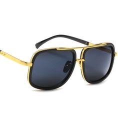 e3be316ee9d Retro Aviator Sunglasses For Men Women Vintage Square Designer Sun Glasses  - Black Black - C9182LSX44E
