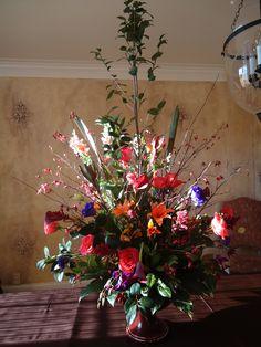 #weddingflowers #weddings www.lavenderhillflorals.com  Breeder's Cup Party. Flower #centerpieces. tall centerpieces