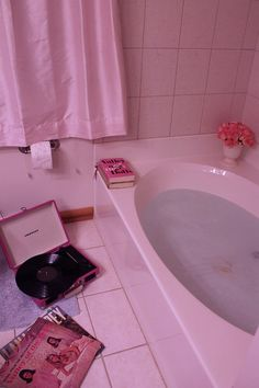 Pink Bathroom Love... playing the songs on the turntable, dreaming a grownup world of love n fame n fabulosity