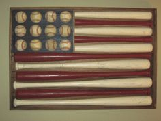"Another baseball flag. If you wanted to save money and you had the tools, you could put the bats through a table saw and cut them in half to give you more bang for less ""buck"". man-cave-ideas-diy or little boys bedroom! Baseball Flag, Baseball Stuff, Baseball Display, Just In Case, Just For You, Do It Yourself Inspiration, Joko, Do It Yourself Home, My New Room"