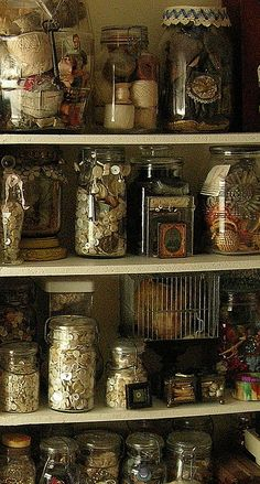 Sewing Room Jars filled with buttons and other sewing notions Sewing Room Storage, Sewing Room Organization, My Sewing Room, Craft Room Storage, Jar Storage, Craft Rooms, Storage Ideas, Organization Ideas, Food Storage