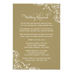 Stylish and unique invitation card includes creative wording to invite the wedding party to both the rehearsal and rehearsal dinner to follow. Scrolling floral flourishes accent the design. Color scheme: white and antique gold Many other colors are available HERE #wedding #rehearsal #dinner #wording #verse #poem #creative #floral #scroll #formal #swirl #elegant #custom #design #template