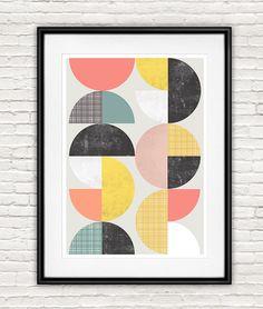 Abstract wall art geometric print mid century modern by handz